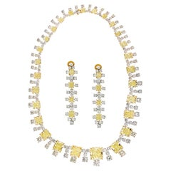 94.65 Cts Radiant Cut Fancy Yellow Diamond Infinity Necklace