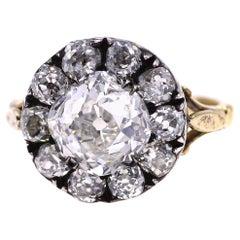 Antique Old Mine Cut 3.71 Carat G VVS 2 Diamond Silver on Gold Engagement Ring