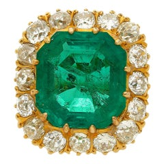 GRS Certified 14.51 Carat Emerald and Old European Cut Diamond Halo Ring