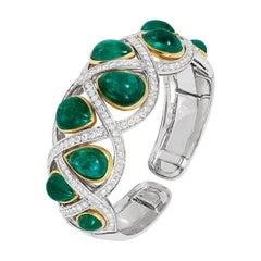 Andreoli 43.96 Carat Colombian Emerald Diamond 18 Karat Gold Bracelet Certified