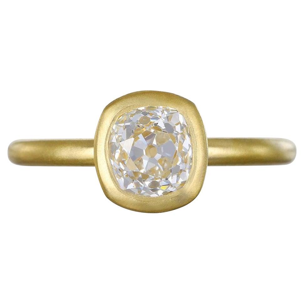 Faye Kim 18k Gold Old European Cut Cushion Diamond Ring