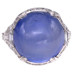 Art Deco Cabochon Star Sapphire Diamond Platinum Ring