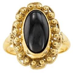 Black Onyx 22 Karat Yellow Gold Ring