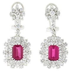 18K White Gold Tourmaline Solitaire Diamond Spray Snowflake Drop Dangle Earrings