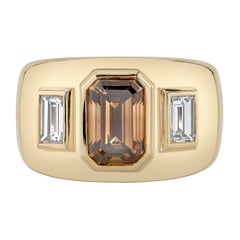 Handcrafted Beaux Emerald Cut Diamond Ring by Single Stone