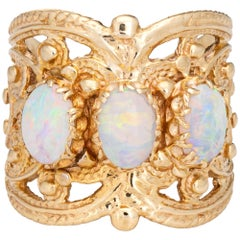 Opal Wide Band Cigar Ring Vintage 14k Yellow Gold Estate Jewelry