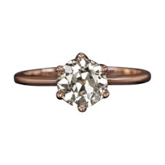 1.40Ct VS2 Old European Cut Diamond Engagement Ring 14K Rose Gold Solitaire