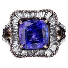 Tanzanite and Diamond Center Design Victorian Solitaire Ring