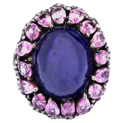 Tanzanite and Pink Sapphire Center Design Victorian Solitaire Ring