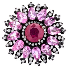 Ruby and Pink Sapphire Victorian Cluster Flower Ring