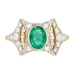 Edwardian 0.70ct Emerald and Diamond Ring, c.1910s