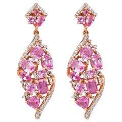 7.9 Carat Pink Sapphire & Diamond Earring in 18 Karat Rose Gold