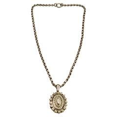 Antique Victorian Silver Locket & Chain, Dated 1887, Birmingham