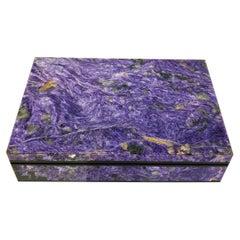 Purple Charoite Decorative Jewelry Gemstone Box with Black Marble Inlay