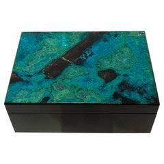 Blue Green Chrysokoll & Malachite Decorative Jewelry Gemstone Box