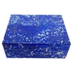 White Blue Lapis Decorative Jewelry Gemstone Box with Black Marble Inlay