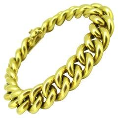 Chunky Curb Links 18kt Yellow Gold Bracelet, circa 1940