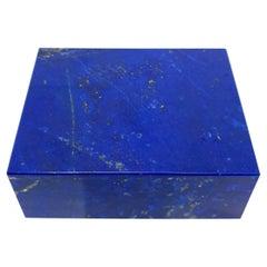Royal Blue Lapis Lazuli Decorative Jewelry Gemstone Box with Black Marble Inlay