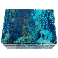 Turquoise Coloured Shattuckite Decorative Jewelry Gemstone Box