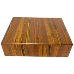 Brown Golden Tigeriron Decorative Jewelry Gemstone Box with Black Marble Inlay