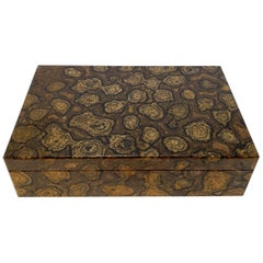 Brown Stromatolite Decorative Jewelry Gemstone Box with Black Marble Inlay