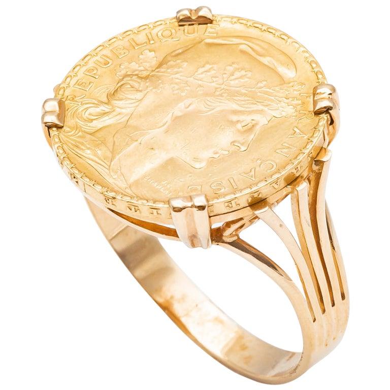 Ring Coin 20 Francs in Yellow Gold 24 Carats Marianne République Française