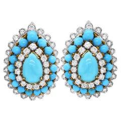 18 Karat Two Tone Yellow White Gold Diamond Sleeping Beauty Turquoise Earrings