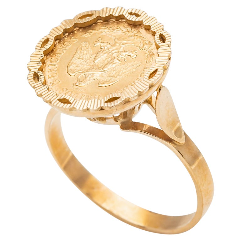 Ring Coins 2 Pesos Yellow Gold 24 Carats United States Mexicana