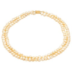 2 Row Baroque Beads Necklace with 18k Yellow Gold Clasp