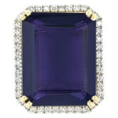 New 18K TT Gold Large Amethyst w/ Diamond Halo Accent Rectangular Cocktail Ring