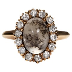 Original Victorian Dendritic Quartz Diamond Cluster Cocktail Gold Ring