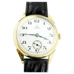 Vintage Omega 18K Yellow Gold Automatic Men's Watch White Dial