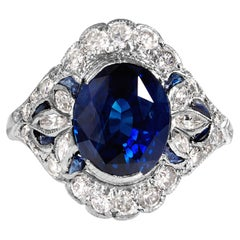 Dazzling Art Deco 7.10ctw GIA Ceylon Blue Sapphire Diamond Platinum Ring