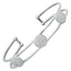 1.33 Carat Natural Diamond Bangle Bracelet 14K White Gold