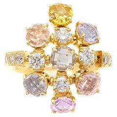 Bvlgari Multicolor Sapphire and Diamond Cluster Ring