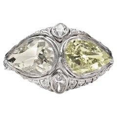 Edwardian Two Pear Shaped Yellow Diamonds Ring