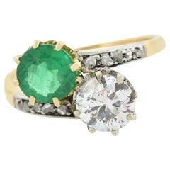 Edwardian Diamond and Emerald Moi Et Toi