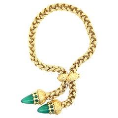 Vintage European Chrysophrase Woven Sliding 18 Karat Gold Bracelet