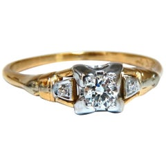 .30ct Vintage Old Miner Diamond Solitaire Ring 14kt