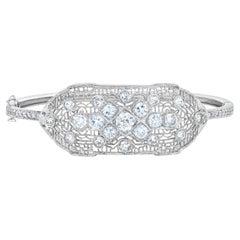 Art Deco Style Diamond Filigree Platinum Gold Bangle Bracelet