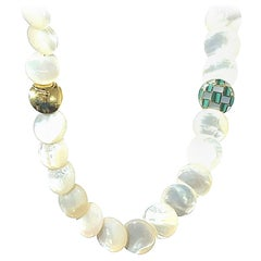 Tiffany & Co Mother of Pearl & Malachite Gold Necklace