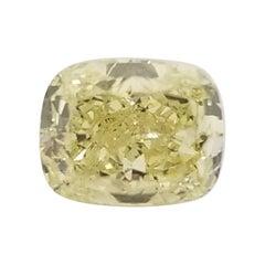 GIA 1.02 Carat Fancy Yellow Cushion Cut Loose Diamond