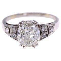 2.05 Cushion Brilliant Platinum Diamond Engagement Ring