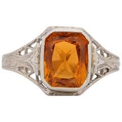 Art Deco 10K White Gold Filigree and Citrine Vintage Fashion Ring
