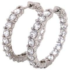 Emilio Jewelry 7.20 Carat Diamond Hoop Earrings