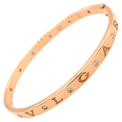Bvlgari 18 Karat Rose Gold 12 Diamond Medium Large Bangle Bracelet