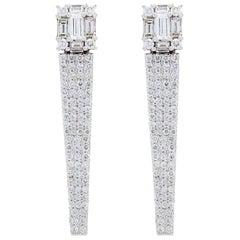 Designer Diamond Icicle 18 Karat Gold Earrings