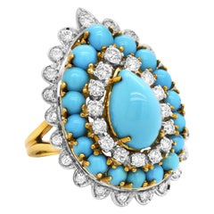 18K Yellow White Two Tone Gold Pear Shape Sleeping Beauty Turquoise Ring