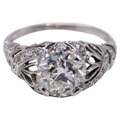 Art Deco 2.03 Carat Old European Cut Diamond GIA Certified Platinum Ring