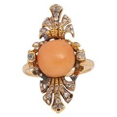 Victorian 14K Yellow Gold Peach Coral Cab with Single Cut Diamond Fashion Ring